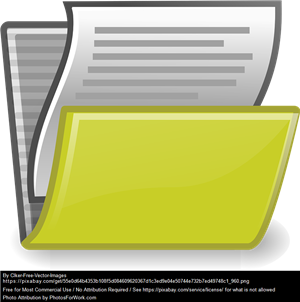 Yellow file with white lined paper