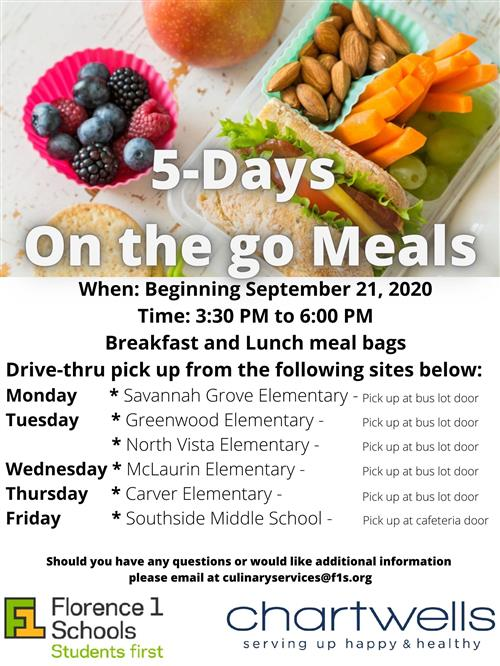 Beginning September 21 you can pick up meal bags at Southside from 3:30pm - 6:00pm.