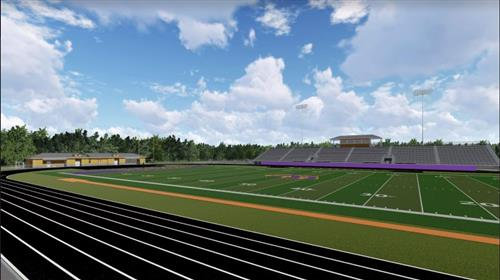 proposed Wilson stadium field level view of home bleachers