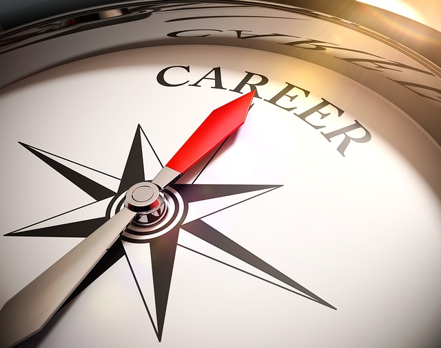 A compass with needle pointing at the word Career