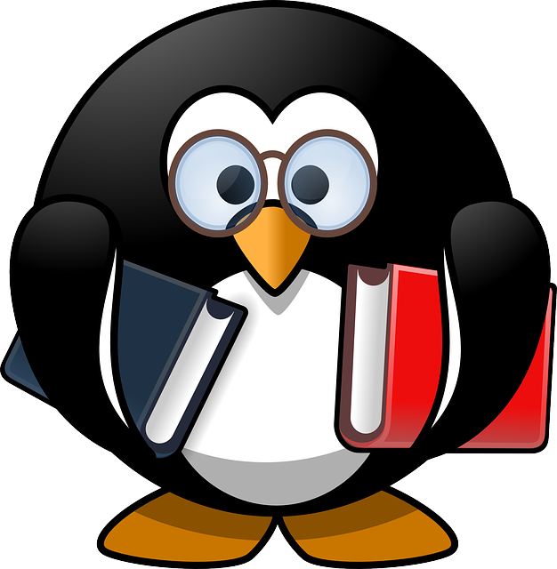 clipart penguin carrying books