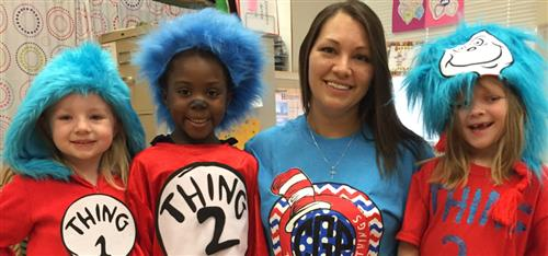 teacher and preschoolers dressed as Thing 1 and 2