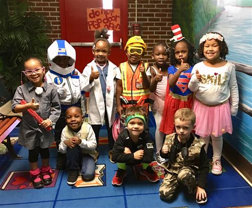 students dressed up for career day