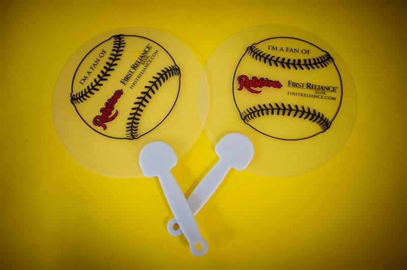 plastic fans with baseballs on them