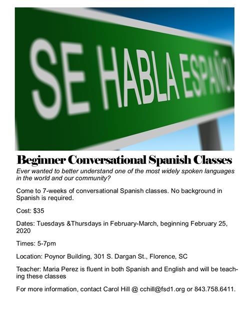 Conversational Spanish Class - call 843-758-6411 to register