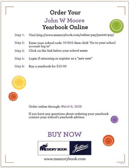 Directions for online ordering of yearbooks