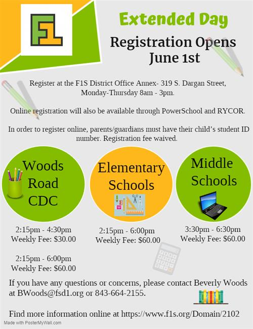 Extended Day Registration Opens June 1st