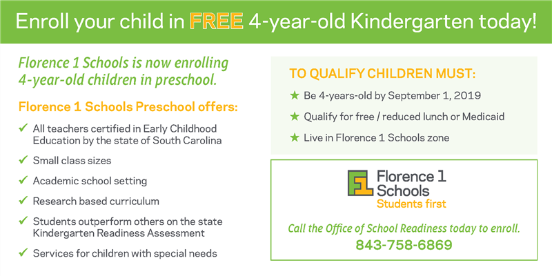 Florence 1 Schools is now enrolling 4-year-old children in preschool